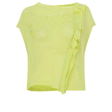 Crea Concept Asymmetric Mesh Frill Knit Jumper - Green