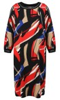 Sandwich Clothing Red Abstract Brush Stroke Print Dress