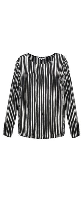Sandwich Clothing Painted Stripe Print Blouse Black