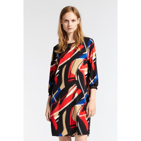 Sandwich Clothing Abstract Brush Stroke Print Dress - Red