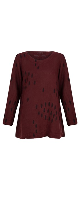 Grizas Ausra Printed Linen Tunic Top Burgundy 175