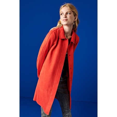 Sandwich Clothing Faux Suede Long Jacket - Red