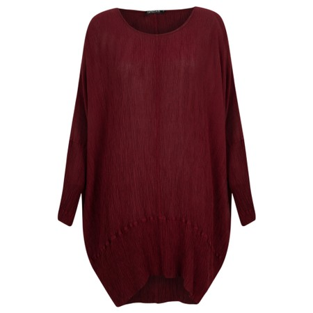 Grizas Vilte Solid Crinkle Silk Tunic - Red