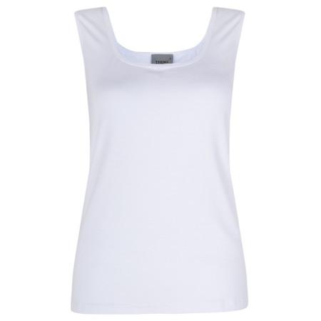 Thing Square Neck Bamboo Sleeveless T-Shirt - White