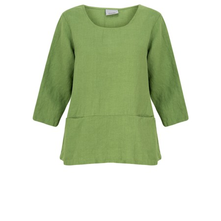 Thing Three Quarter Sleeve Two Pocket Linen Top - Green
