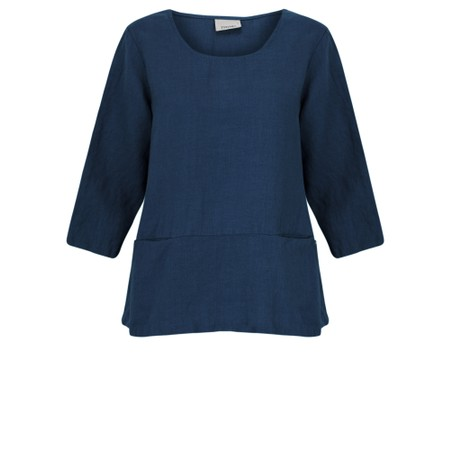 Thing Three Quarter Sleeve Two Pocket Linen Top - Blue