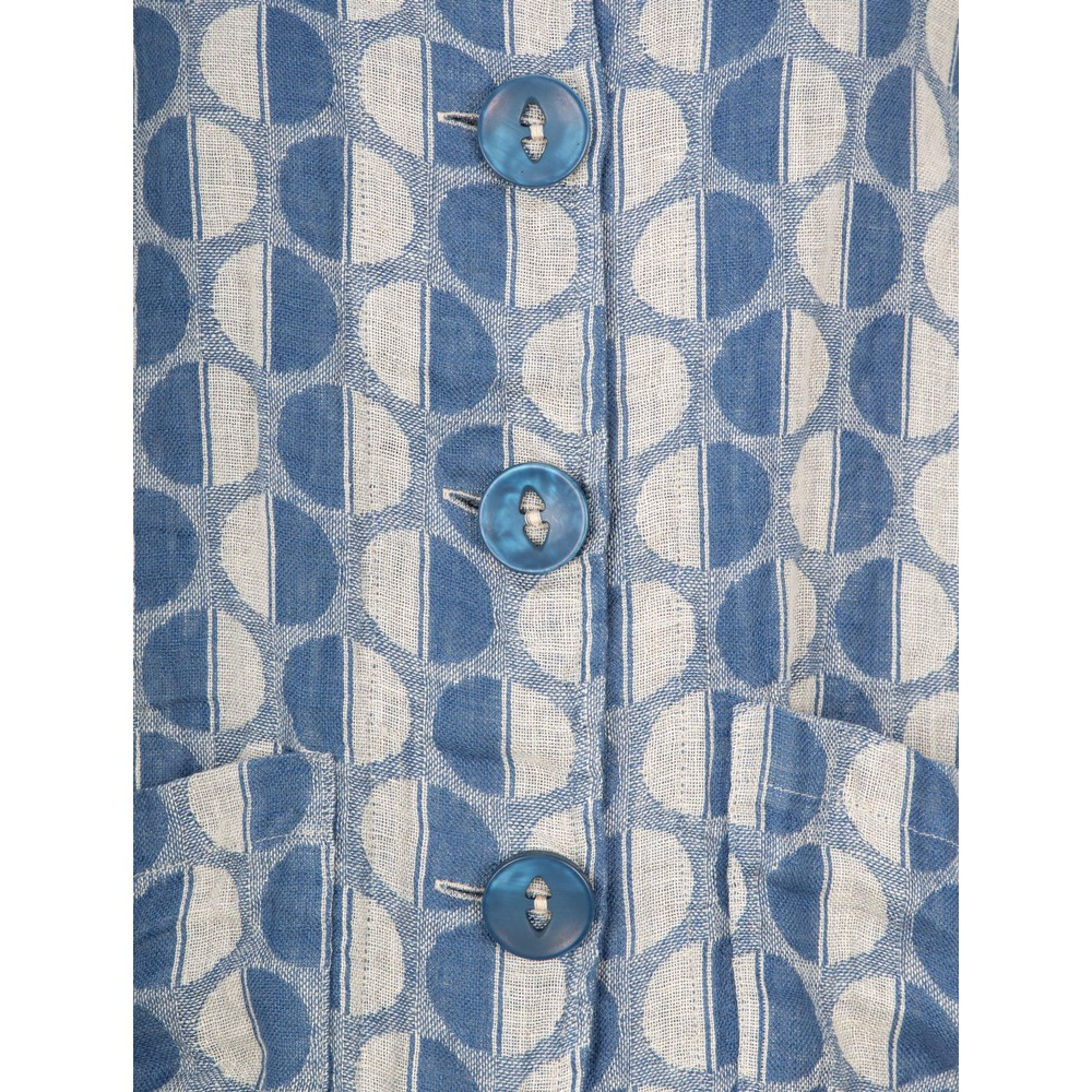 Thing  Button Front Linen Printed Jacket Linen / Denim