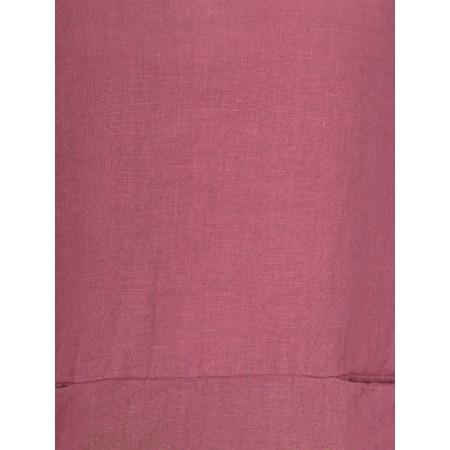 Thing Three Quarter Sleeve Two Pocket Linen Top - Purple
