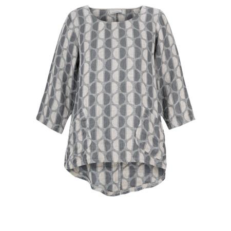 Thing Three quarter length Sleeve Linen Pocket Top - Grey
