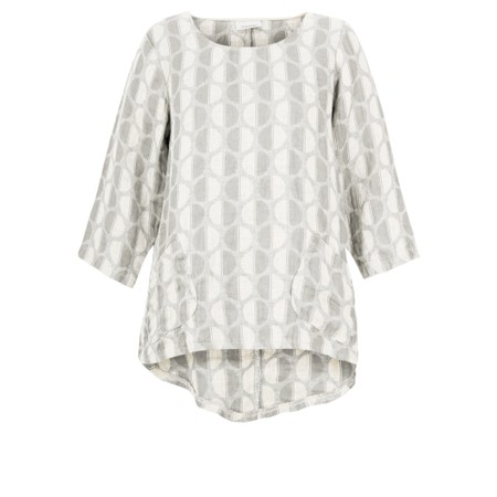 Thing Three quarter length Sleeve Linen Pocket Top - Off-White