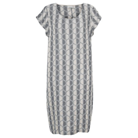 Thing Short Sleeve Linen Printed Shift Dress - Grey