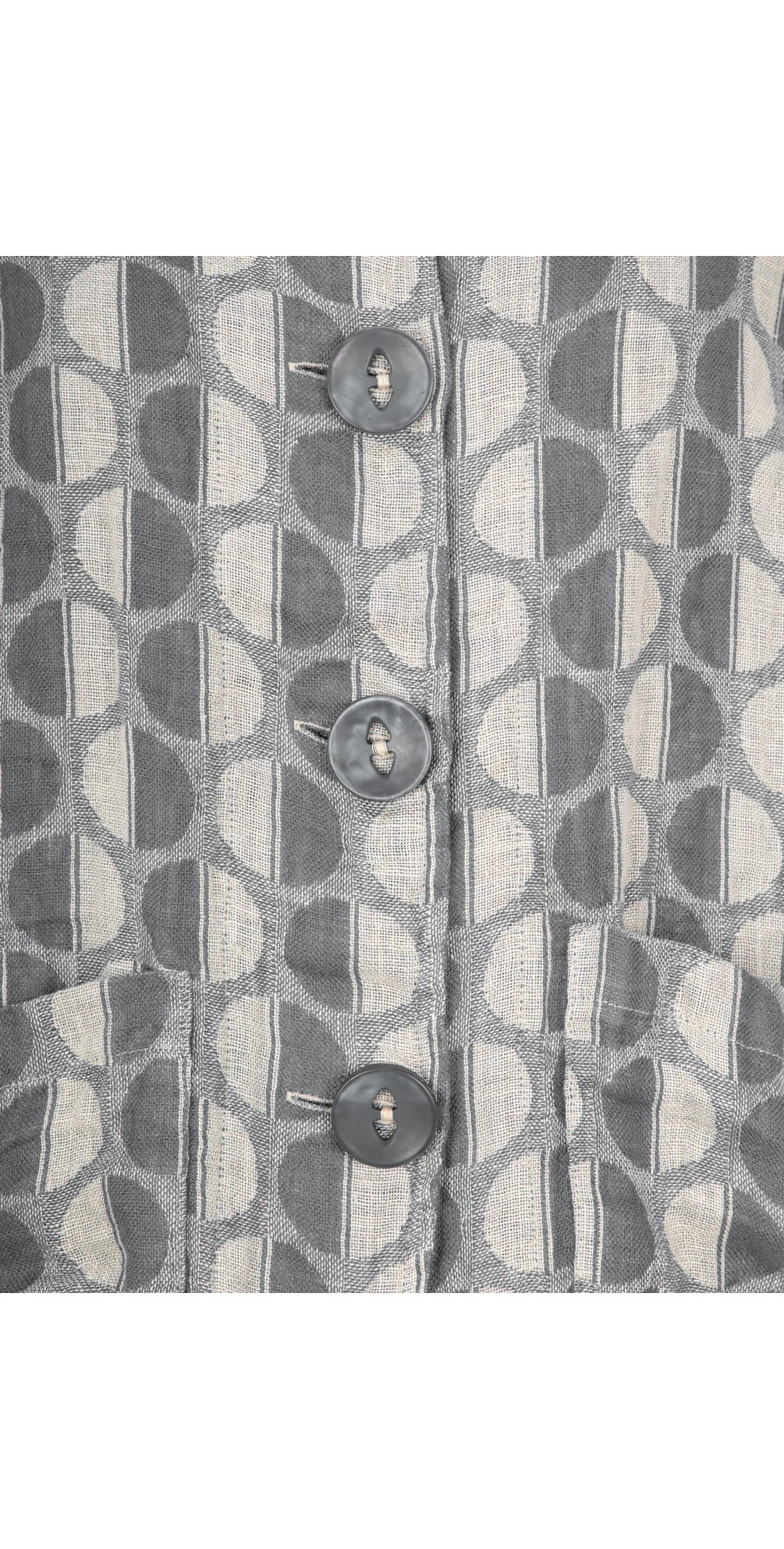 Button Front Linen Printed Jacket main image