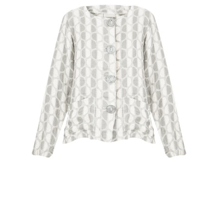 Thing  Button Front Linen Printed Jacket - Off-White