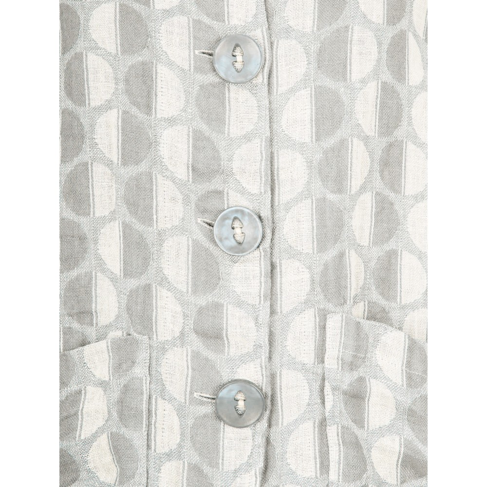 Thing  Button Front Linen Printed Jacket Linen / Off White
