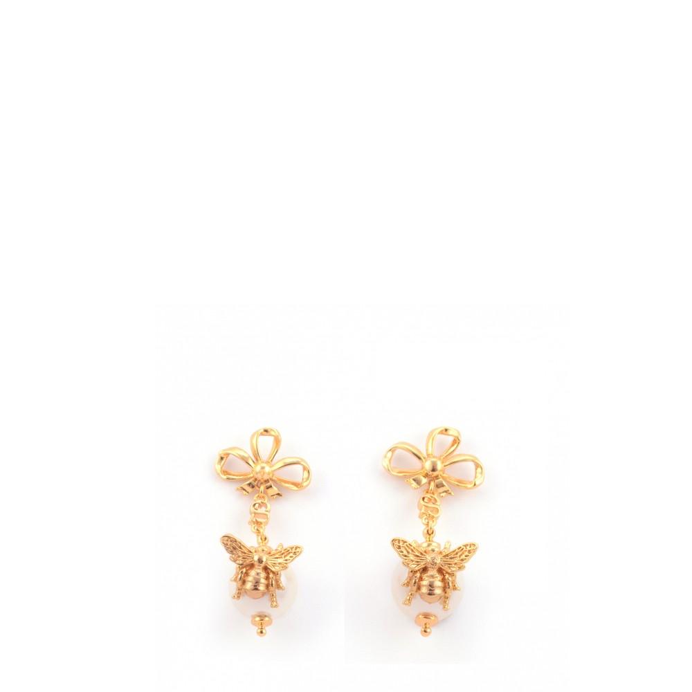 Bill Skinner Bee Pearl Bow Drop Earring Multi