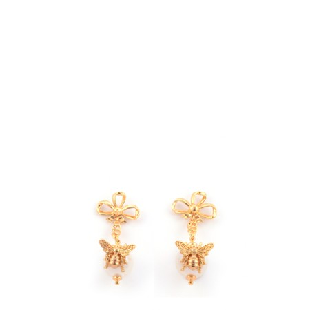 Bill Skinner Bee Pearl Bow Drop Earring - Multicoloured