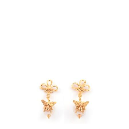 Bill Skinner Bee Pearl Bow Drop Earring - Multicoloured