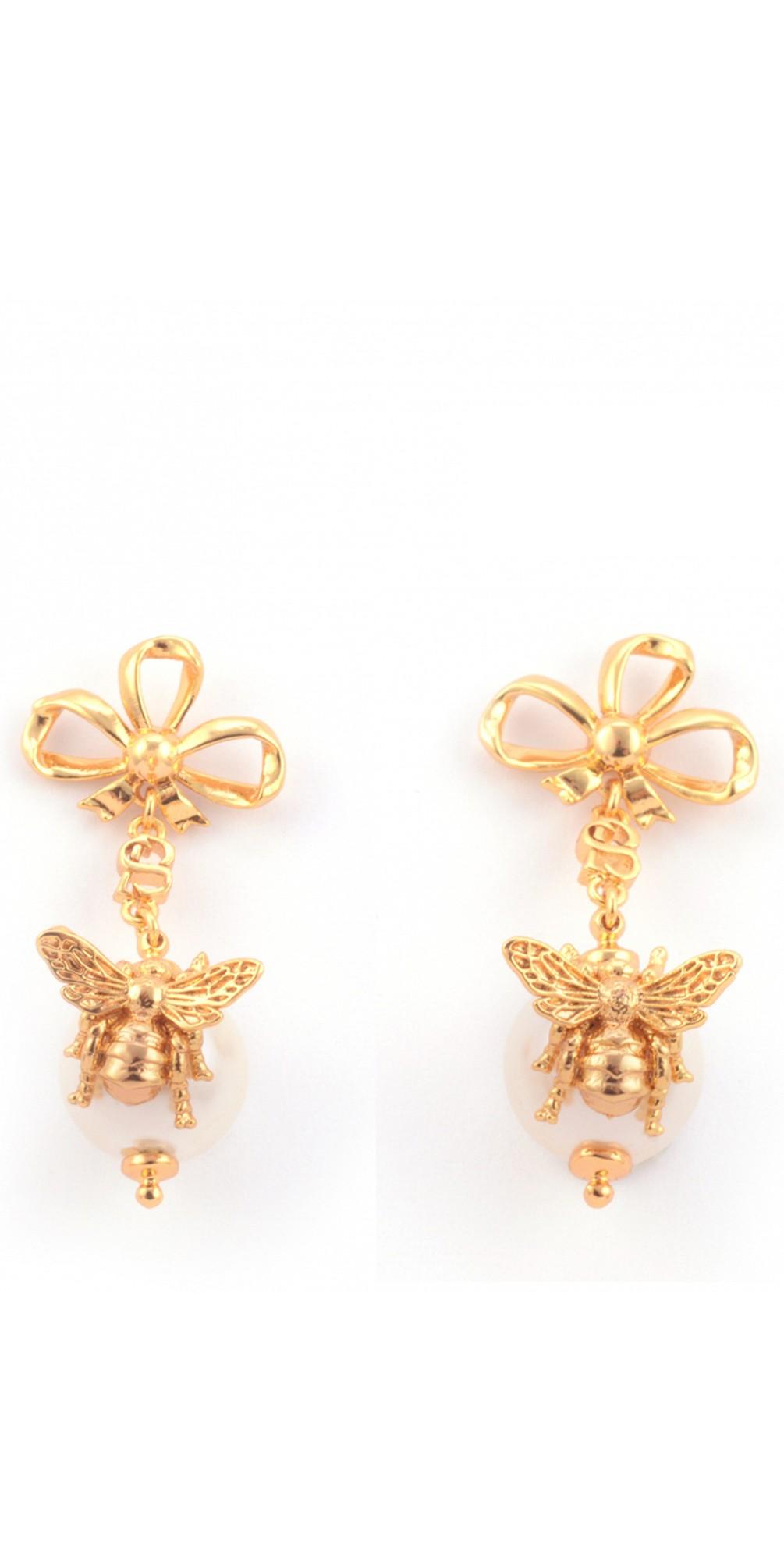 Bee Pearl Bow Drop Earring main image