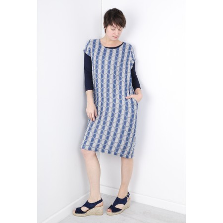 Thing Short Sleeve Linen Printed Shift Dress - Blue