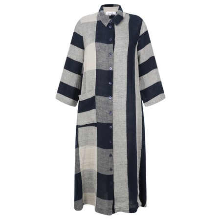 Sahara Stripe & Check Linen Dress - Multicoloured