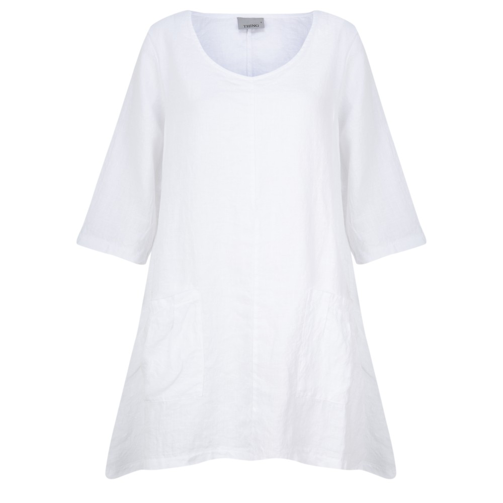 Thing Three Quarter Sleeve Two Pocket Tunic White