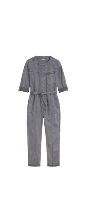 Sandwich Clothing Stretch Tencel Cotton Blend Boiler Suit Blue Grey