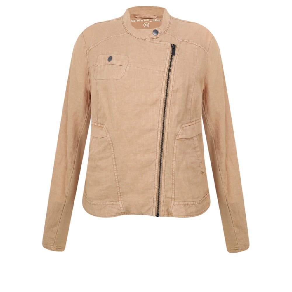 Sandwich Clothing Linen Biker Jacket Camel