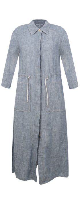 Sandwich Clothing Long Linen Shirt Dress Cloud Melange