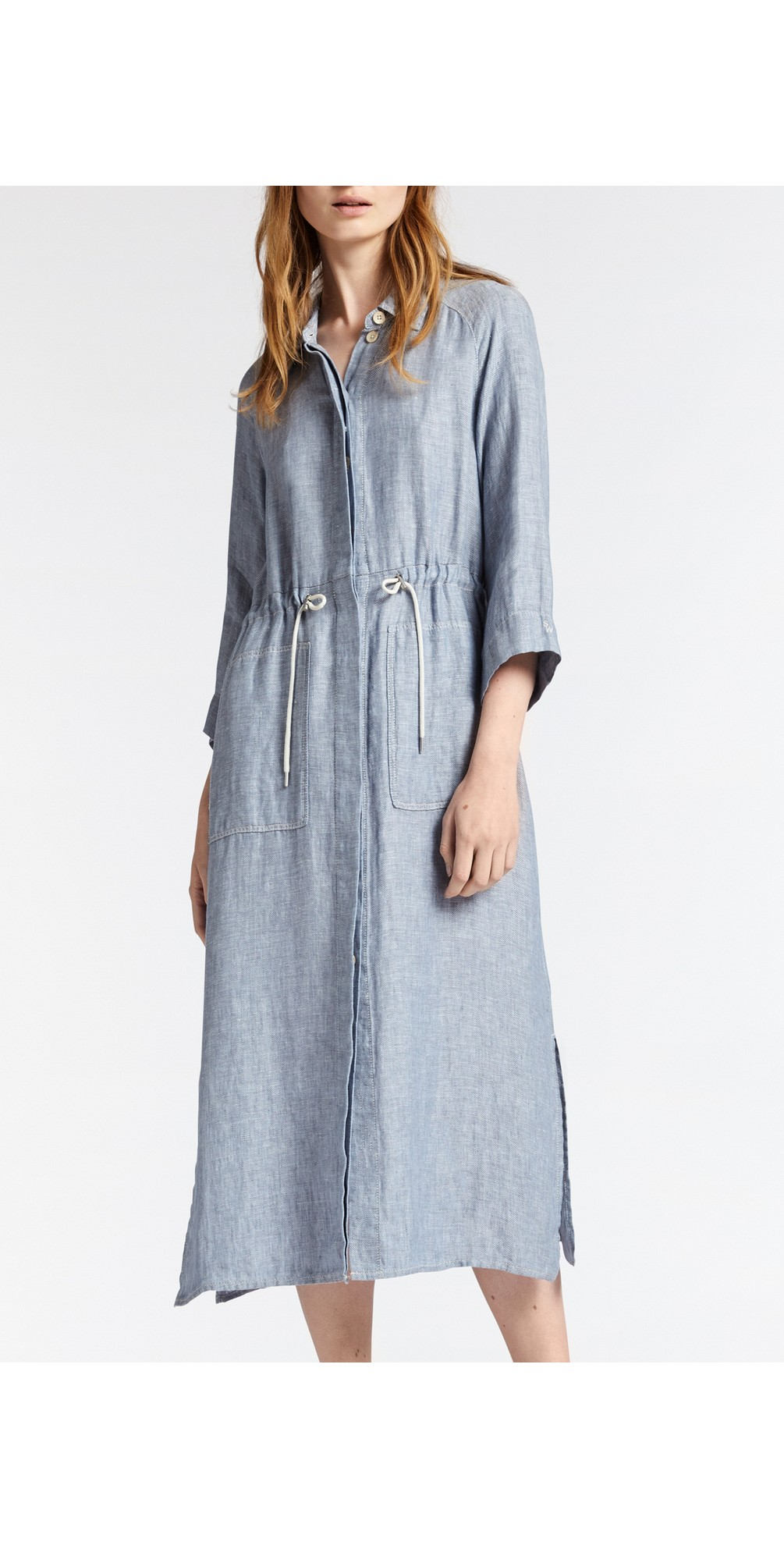 Long Linen Shirt Dress main image