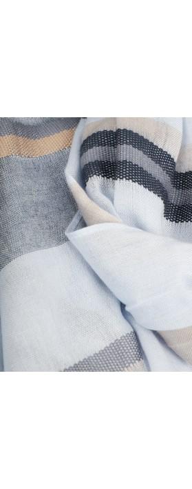 Sandwich Clothing Stripe Print Scarf Blue Grey