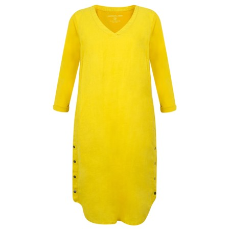 Sandwich Clothing Three Quarter Sleeve Linen Blend Dress - Yellow