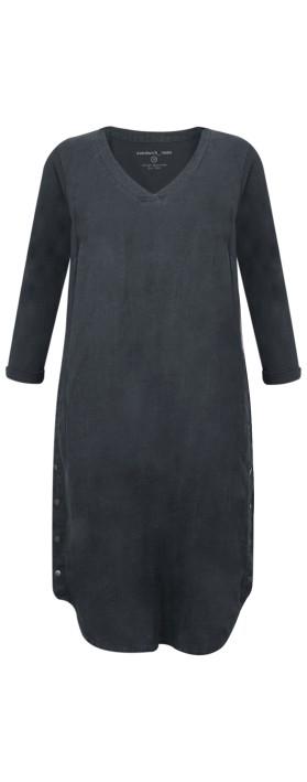 Sandwich Clothing Three Quarter Sleeve Linen Blend Dress Navy