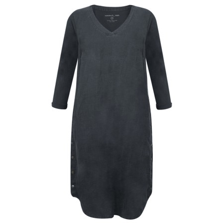 Sandwich Clothing Three Quarter Sleeve Linen Blend Dress - Blue