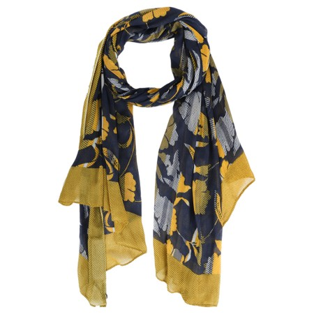 Sandwich Clothing Abstract Floral and Stripe Scarf - Blue