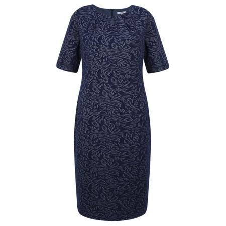 Sandwich Clothing Denim Look Leopard Print Jacquard Dress - Blue