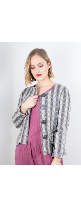 Thing  Button Front Linen Printed Jacket Linen / Grey