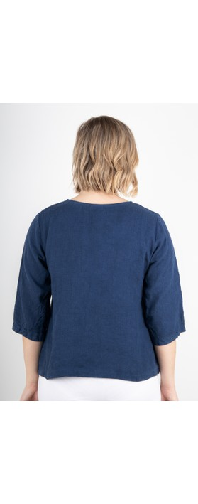 Thing Erin Linen Three Quarter Sleeve Two Pocket Top Denim