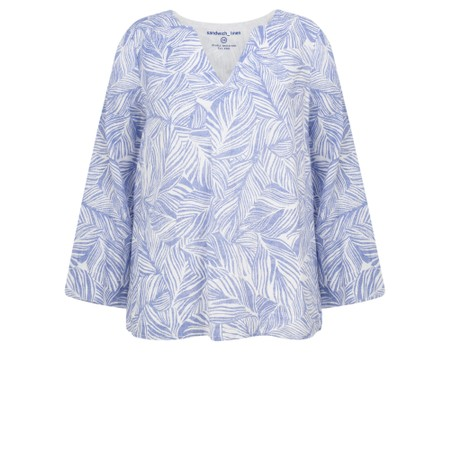 Sandwich Clothing Linen Palm Print Top - Blue