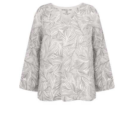 Sandwich Clothing Linen Palm Print Top - Grey