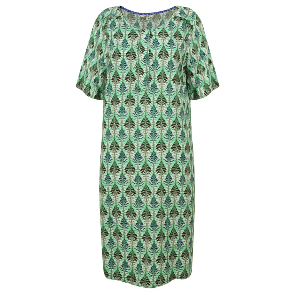 Sandwich Clothing Chevron Leaf Print Dress Washed Sage