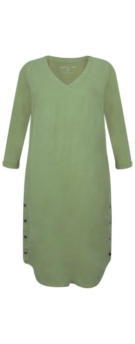Sandwich Clothing Three Quarter Sleeve Linen Blend Dress Washed Sage