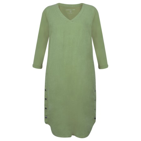 Sandwich Clothing Three Quarter Sleeve Linen Blend Dress - Green