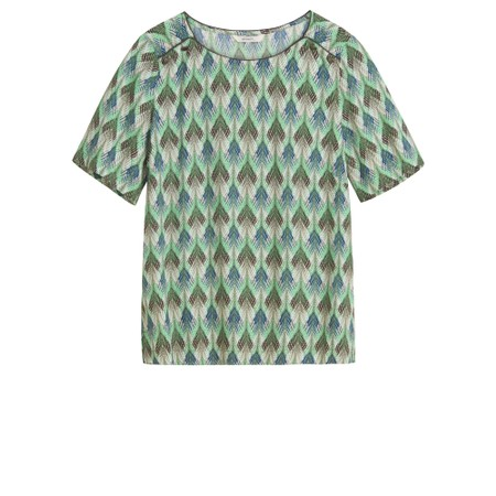 Sandwich Clothing Abstract Zig-Zag Print Top - Green