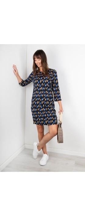 Sandwich Clothing Abstract Geometric Print Dress Signal Blue