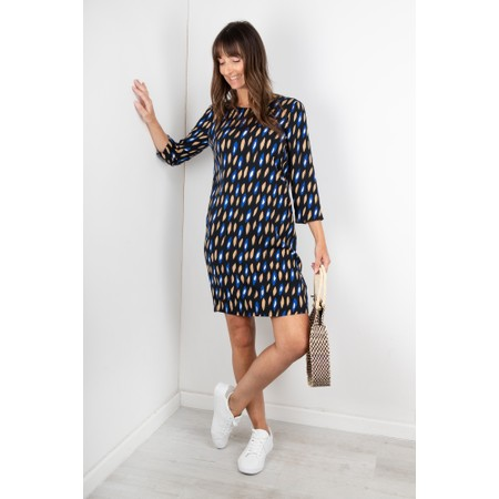 Sandwich Clothing Abstract Geometric Print Dress - Blue