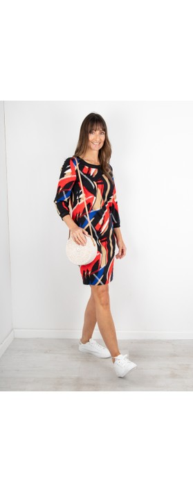 Sandwich Clothing Abstract Brush Stroke Print Dress Red