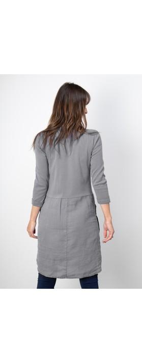 Sandwich Clothing Three Quarter Sleeve Linen Blend Dress Blue Grey