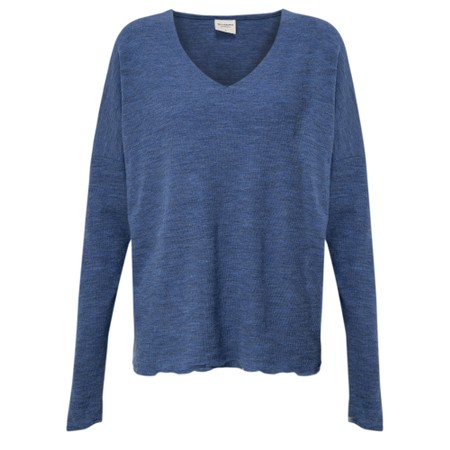 BY BASICS Hana V-Neck Blusbar Merino Top - Blue