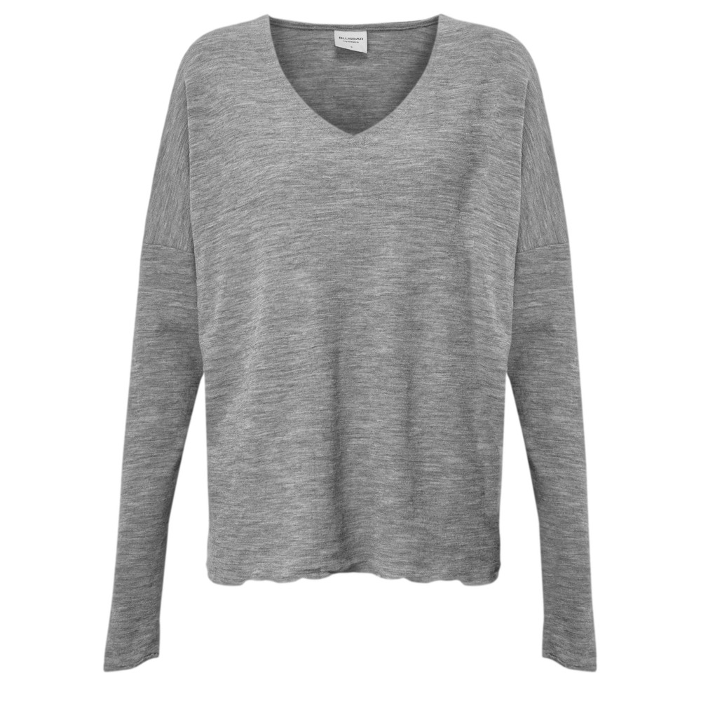 BY BASICS Hana V-Neck Blusbar Merino Top Dawn Grey Melange 61