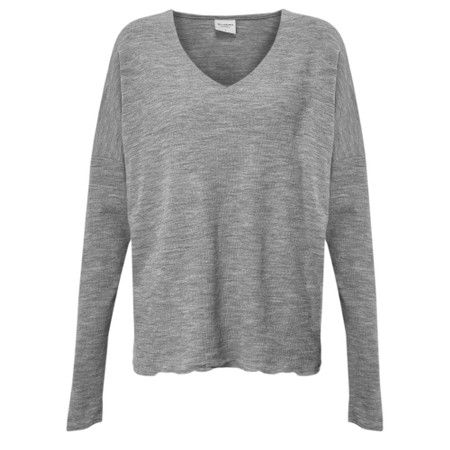 BY BASICS Hana V-Neck Blusbar Merino Top - Grey